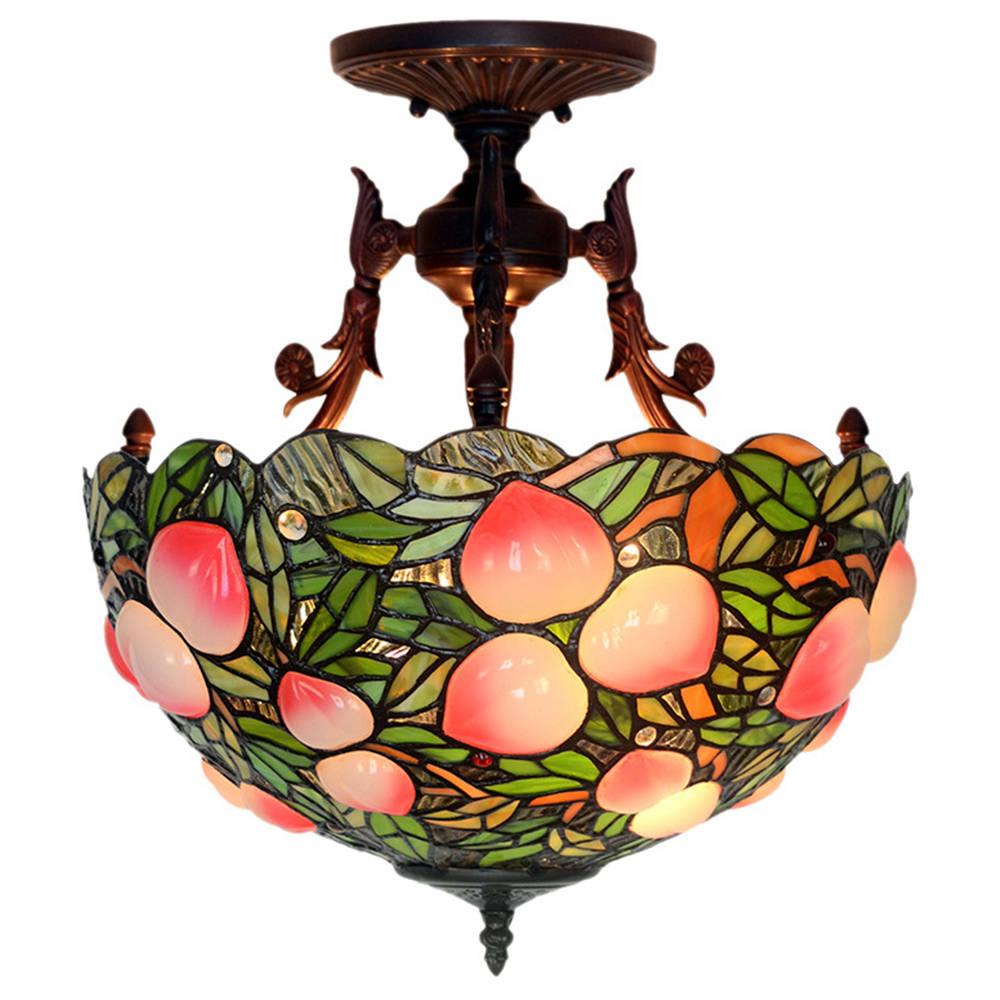 FUMAT Tiffany Style - Plafoniera artigianale in vetro colorato - Romantic Blossom Design