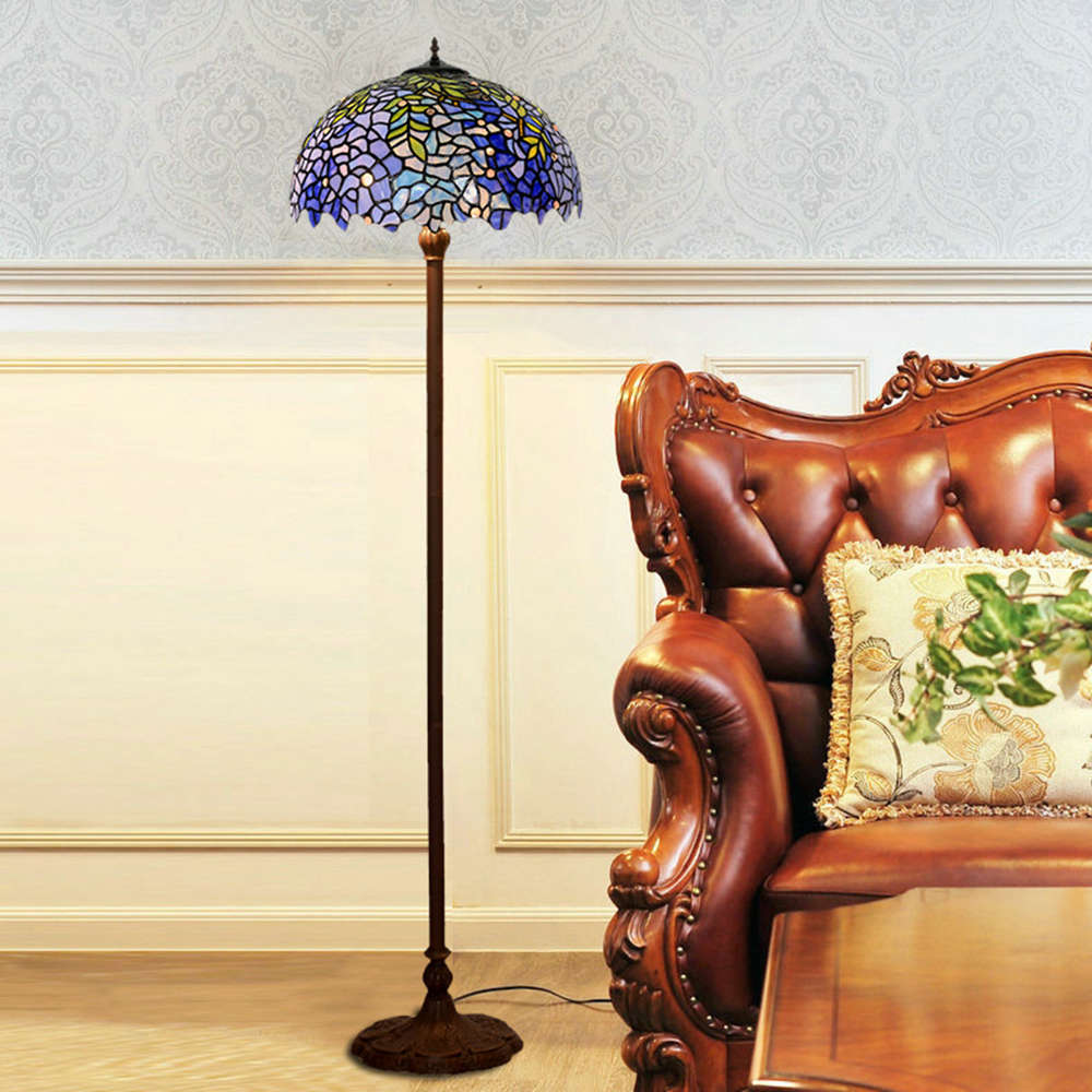 FUMAT Tiffany Style Stained Glass Handgemaakte staande lamp - Romantic Wisteria Love Design