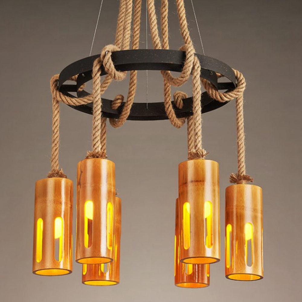 colgante de cáñamo de retro cuerda de con 6 nórdica Lámpara FUMAT luces bambú Diseño zMqSGpUV