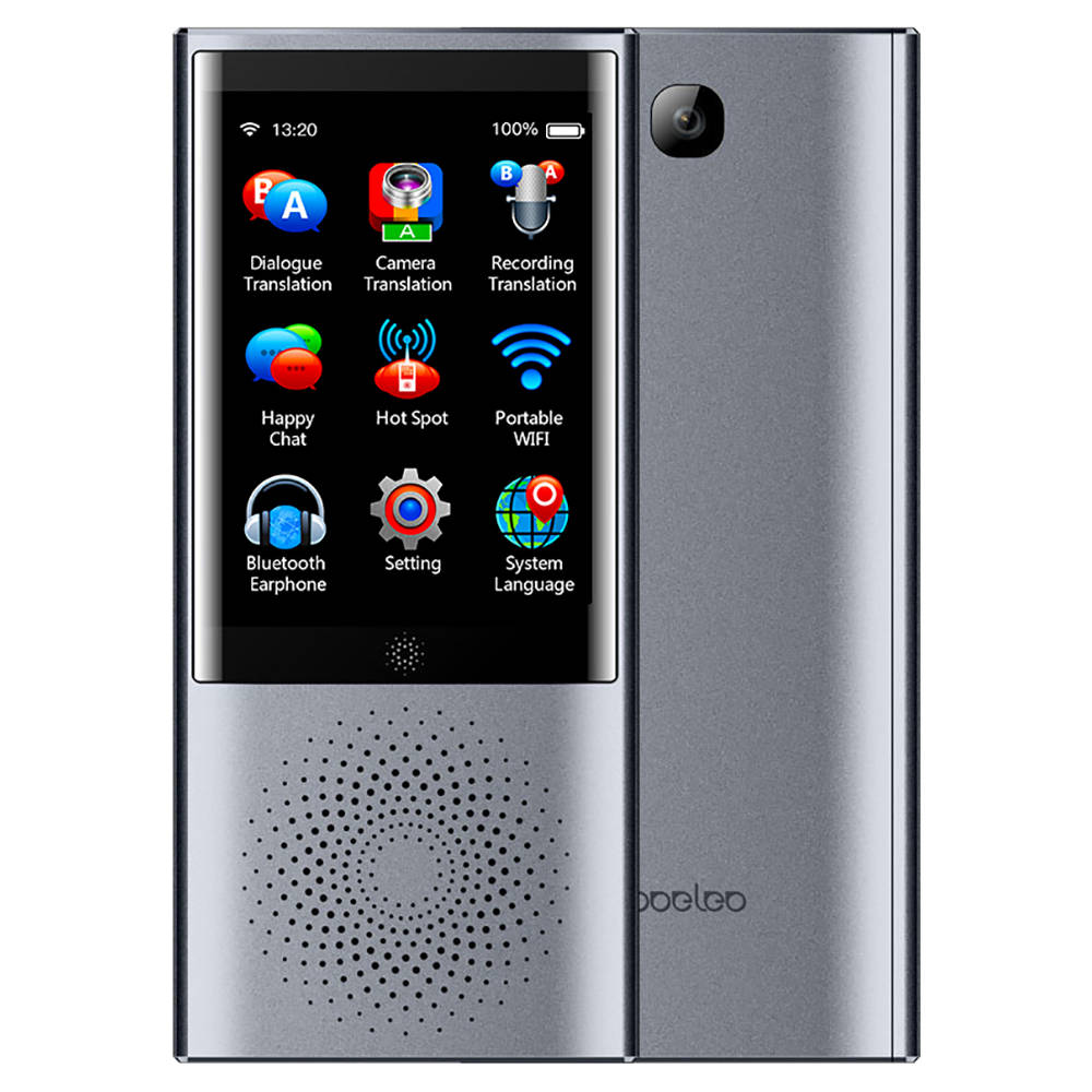 Boeleo W1 AI Translator 45 Languages Touch Control 2.4G + 5G WiFi BT4.0 4G SIM 1300 Pixel - Platinum