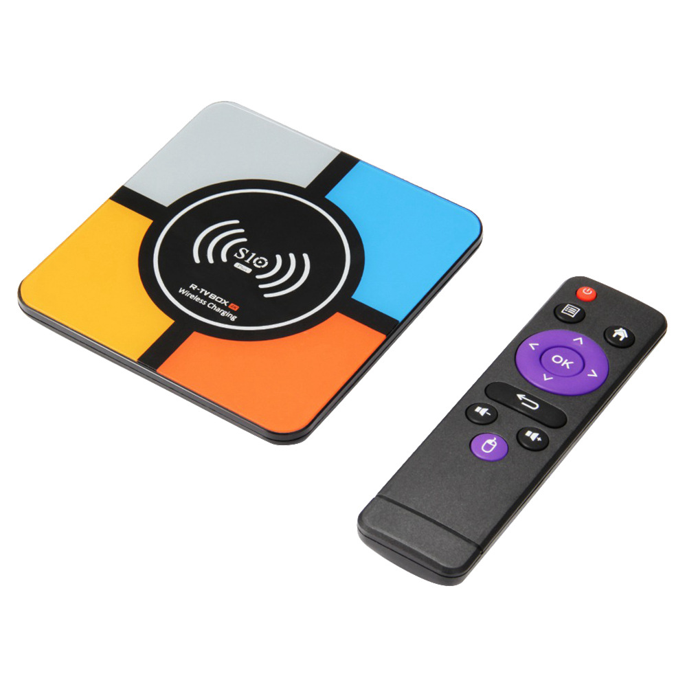 R-TV BOX S10 Plus RK3328 Android 8.1 4GB/64GB 4K TV Box Wireless Charger KODI 18.0 WiFi LAN HDR H.265 Compatible with iPhone X iPhone 8/8 Plus & Galaxy Note 8 S8/S9/S9 Plus and All Qi-Enabled Devices