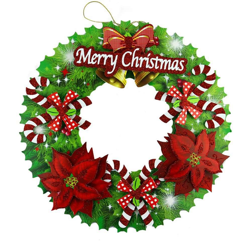 35cm Solid Paper Flashing Wreath For Christmas Decorations Window Layout Door Hangs Type B