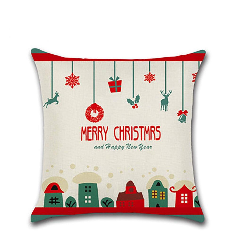 Christmas Pillow Cotton Linen Pillow Cases for Bedroom Sofa Car Decoration - Type A