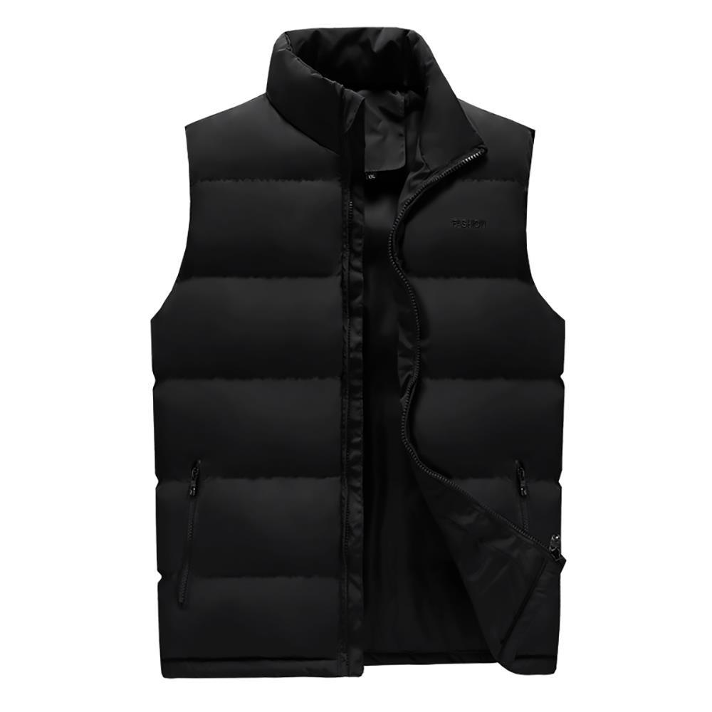 LH1801 رجالية الشتاء سميكة موقف ذوي الياقات البيضاء صدرية القطن (لون خالص سترة بلا أكمام سترة الحجم L) - أسود