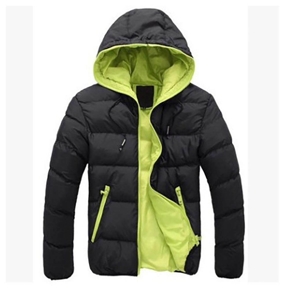 Agai-mccf Men's Leisure Hooded Candy Color Down Jacket (Warm Coat Size M) - Black + Green