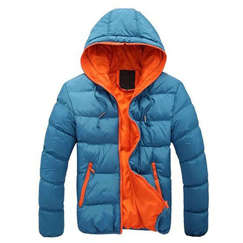 Agai-mccf Men's Leisure Hooded Candy Color Down Jacket (Warm Coat Size XL) - Blue + Orange