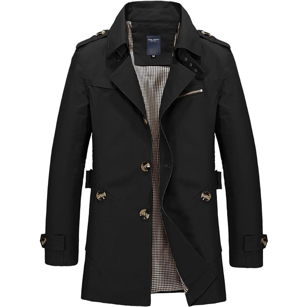 CA1306 Men's Autumn Winter Casual Windbreaker (Leisure Cotton Jackets Outerwear Trench Coat Size L) - Black