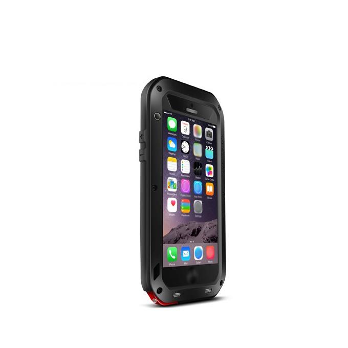 Love Mei Water Resistant Dirt / Shockproof Custodia protettiva in metallo e silicone per iPhone 6 Plus - Nero