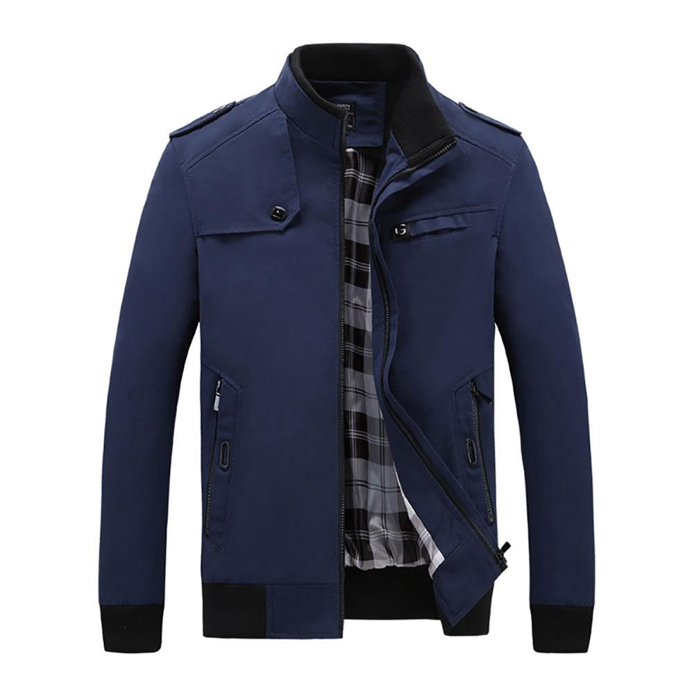 CA9801 Men's Autumn Winter Classic Casual Jacket (Lapel Grid Long Sleeve Polyester Jacket Size XL) - Dark Blue