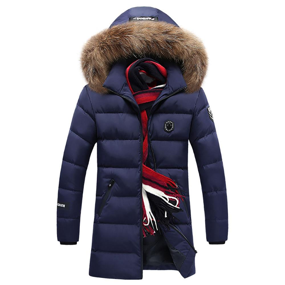 CA8866 Men's Autumn And Winter Casual Long Down Jacket (Solid Color Thicken Warm Fur Collar Size 4XL) - Dark Blue