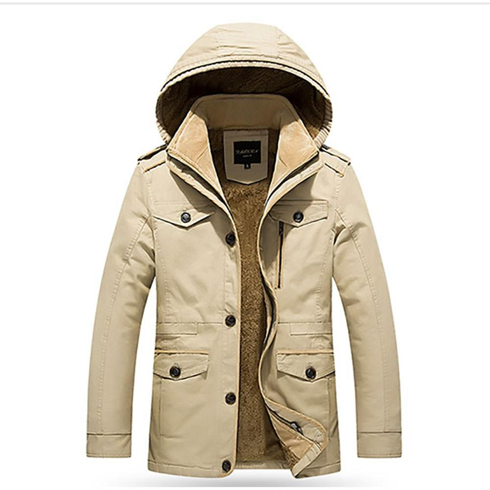 CAH8808 Men's Autumn And Winter Leisure Long Cotton Hooded Jacket (Thick Trench Coat Size XL) - Light Khaki