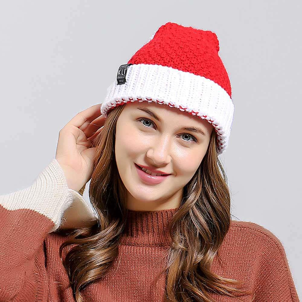 Santa Claus Party Christmas Hat for Adults Women Xmas Wool Knitted Cap Soft Hat - Red