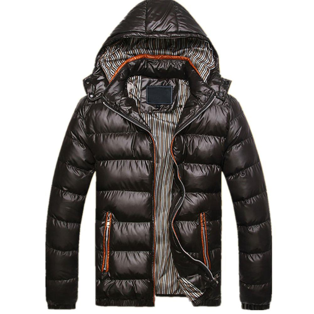 TG220 Men's Winter Hooded Down Jacket (Cotton Padded Warm Slim Fit Coat Size XL) - Black