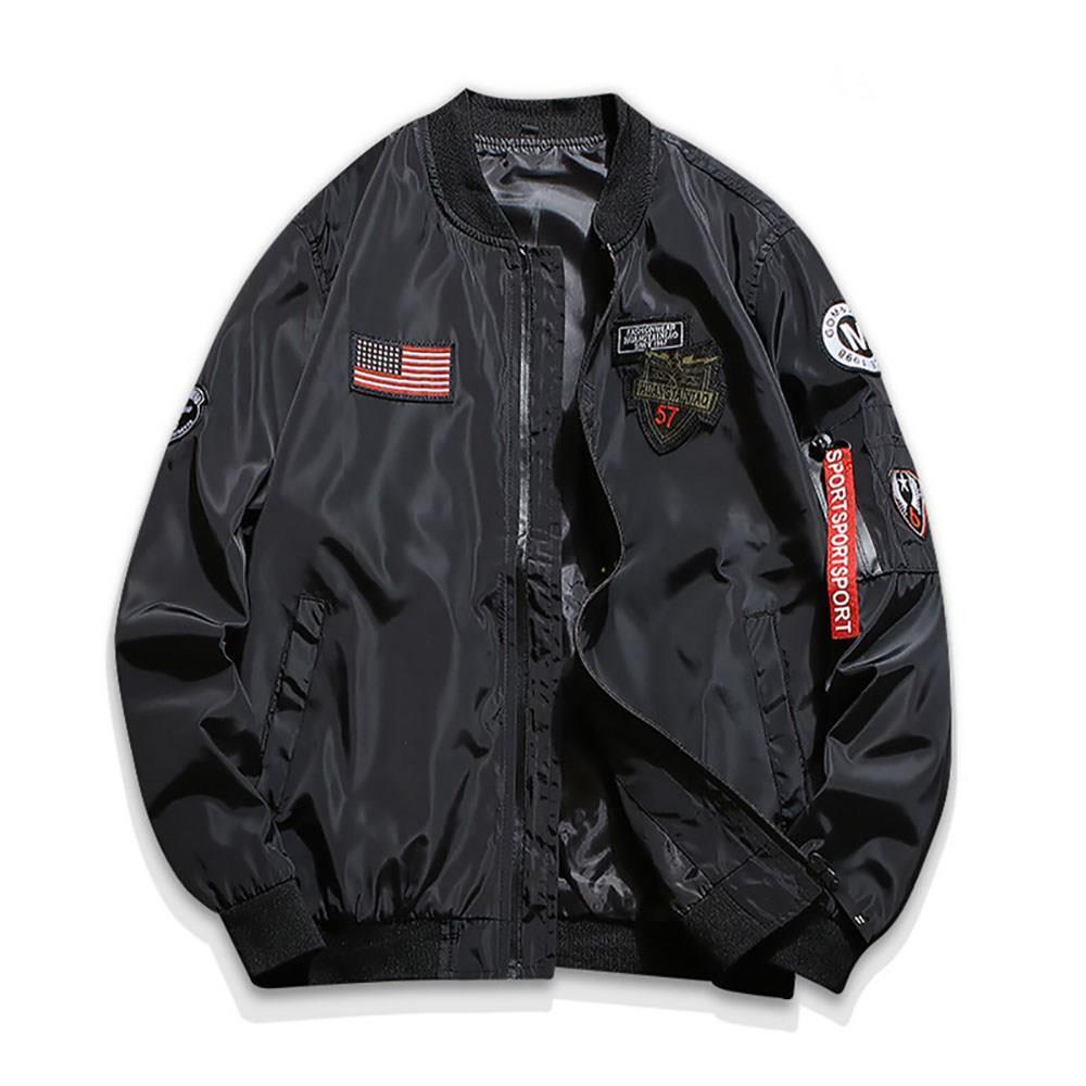 C9901 الرجال الخريف عارضة مطرزة سترة مستديرة الرقبة منفذها الطيار (كم طويل معطف الحجم L) - أسود