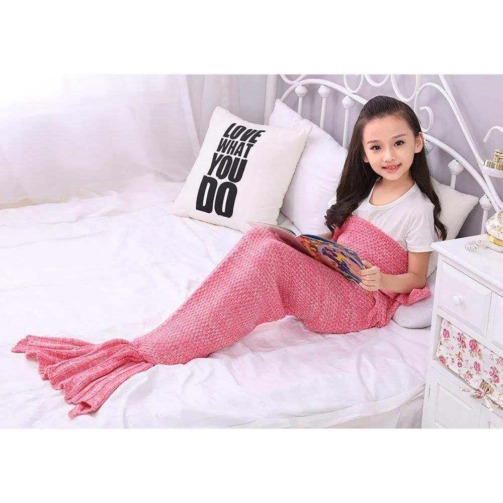Children Mermaid Tail Blanket Pink Size 70 Cm