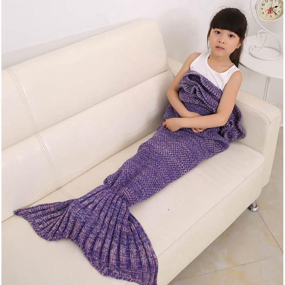 Children Mermaid Tail Blanket Purple Size 70 Cm