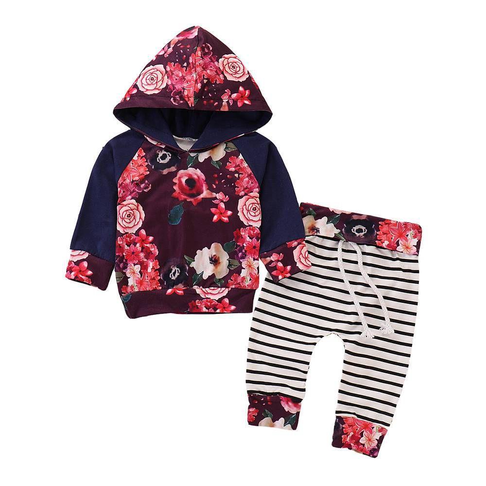 HZ50060 ילדים ורדים תבנית ורוד סט שני חלקים סט (Hooded שרוול ארוך Hoodie + מפוספס מכנסיים גודל 100) - רב צבעים