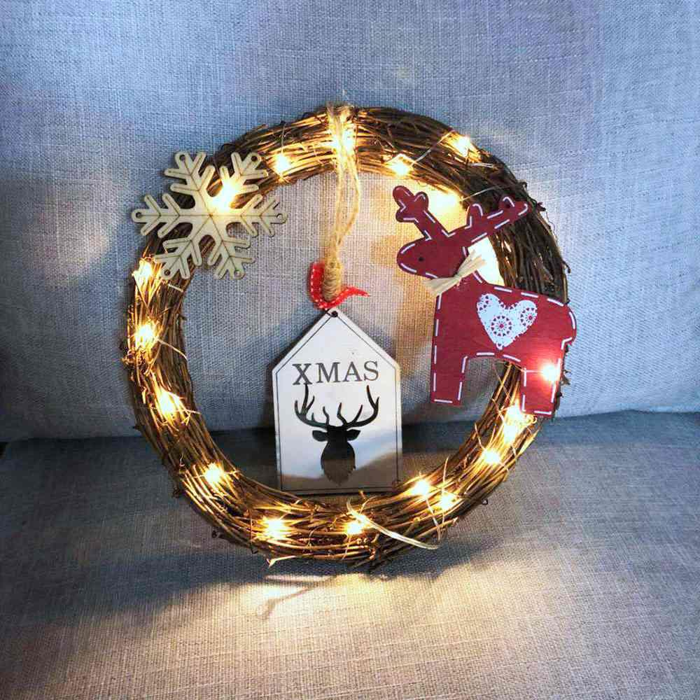 20 LEDs Natural Dried Wreath DIY Round Rattan String Light Wreaths Christmas Door Wall Wedding Decoration - Warm White
