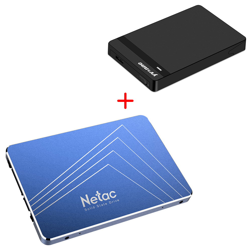 [Package B] Netac N600S 1TB SATA3 High Speed SSD (Blue) + Yvnne HD213 SATA To USB 3.0 External Hard Drive Enclosure Case (Black)