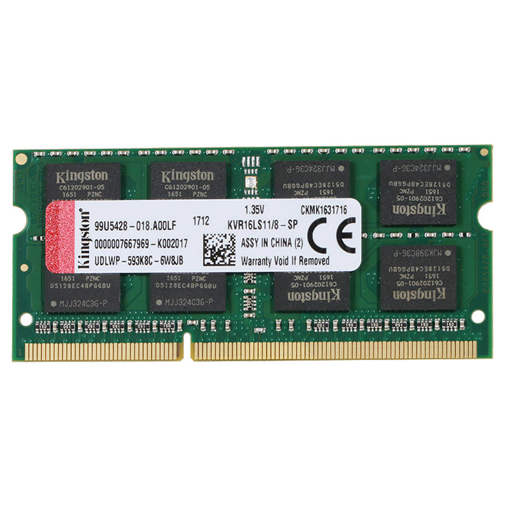 Kingston KVR16LS11/8-SP DDR3 1600MHz 8GB ValueRAM UDIMM Memory Module For Laptop Low Voltage Version - Green