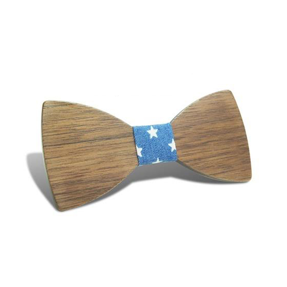 New Design Customize Boys Wooden Bow Ties Baby Kids Bow Ties Butterfly Child Student Wood Tie-Black walnut stars
