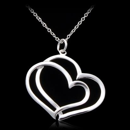 925 Silver Plated Cupronickel Alloy Double Heart Necklace - Silver