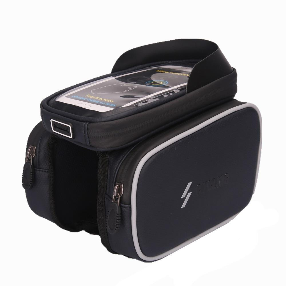 Bicycle Beam Package Front Frame Top Tube Saddle Bag Mobile Phone Bag With Headphone Plug - Black