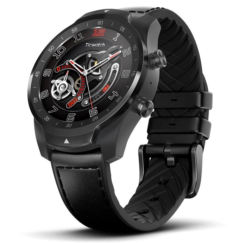 Ticwatch PRO Smartwatch Wear OS 1.4 pulgadas OLED / LED Doble pantalla Monitor de ritmo cardíaco IP68 GPS incorporado - Negro