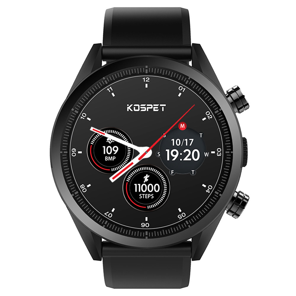 Kospet Hope 4G Smartwatch Phone Android 7.1 MTK6739 Quad Core 3G RAM 32G ROM 1.39 calowy AMOLED Ekran GPS WiFi Heart Rate Monitor Silikonowy pasek - czarny