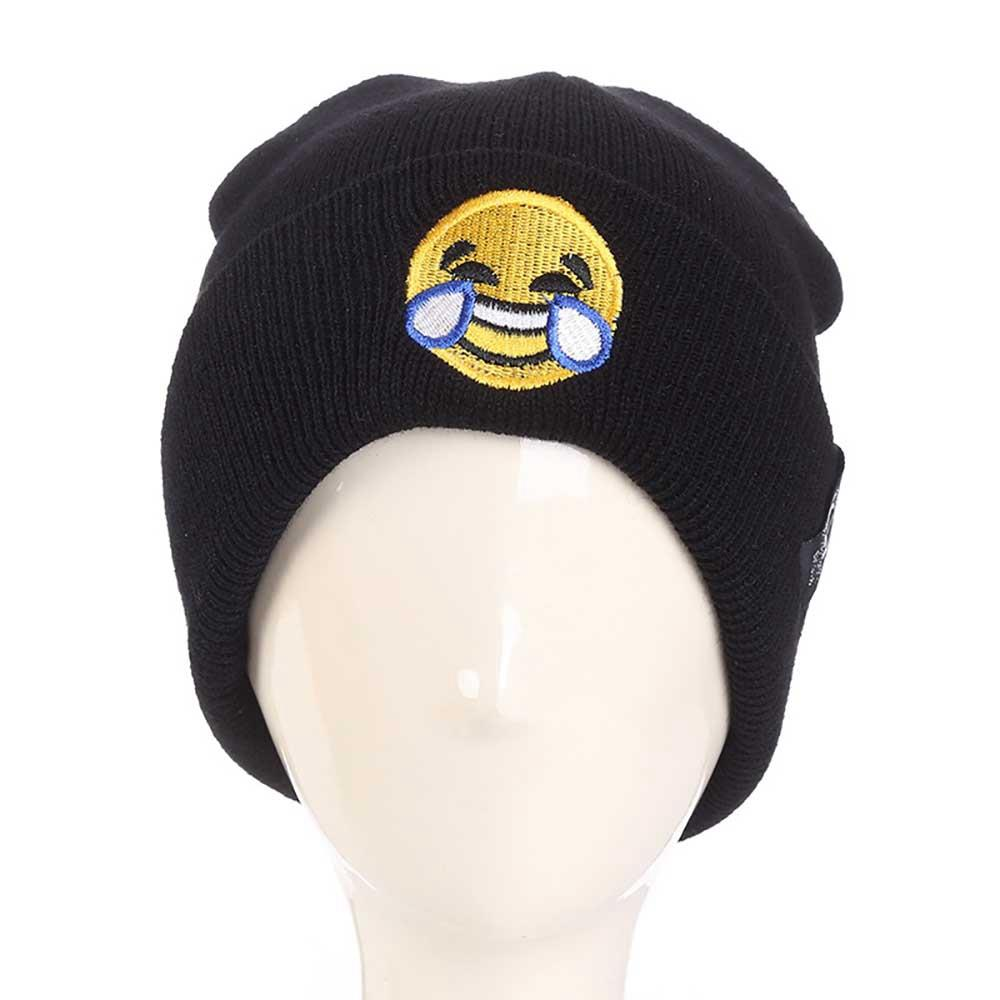 LZ169 Unisex İfade Işlemeli Örme Şapka KLV Kişilik Karikatür Yün Kap Açık Sıcak Kelepçeli Şapka - Siyah
