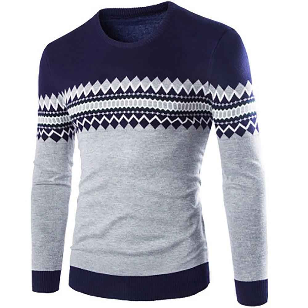 C03 Men Casual Autumn Winter Warm Round Neck Sweater Size XL - Navy Blue