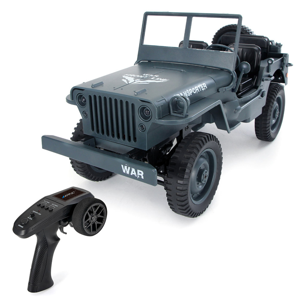 JJRC Q65 Transporter-6 2.4G 1:10 4WD Convertible Jeep Off-road RC Car Military Truck RTR - Navy Blue