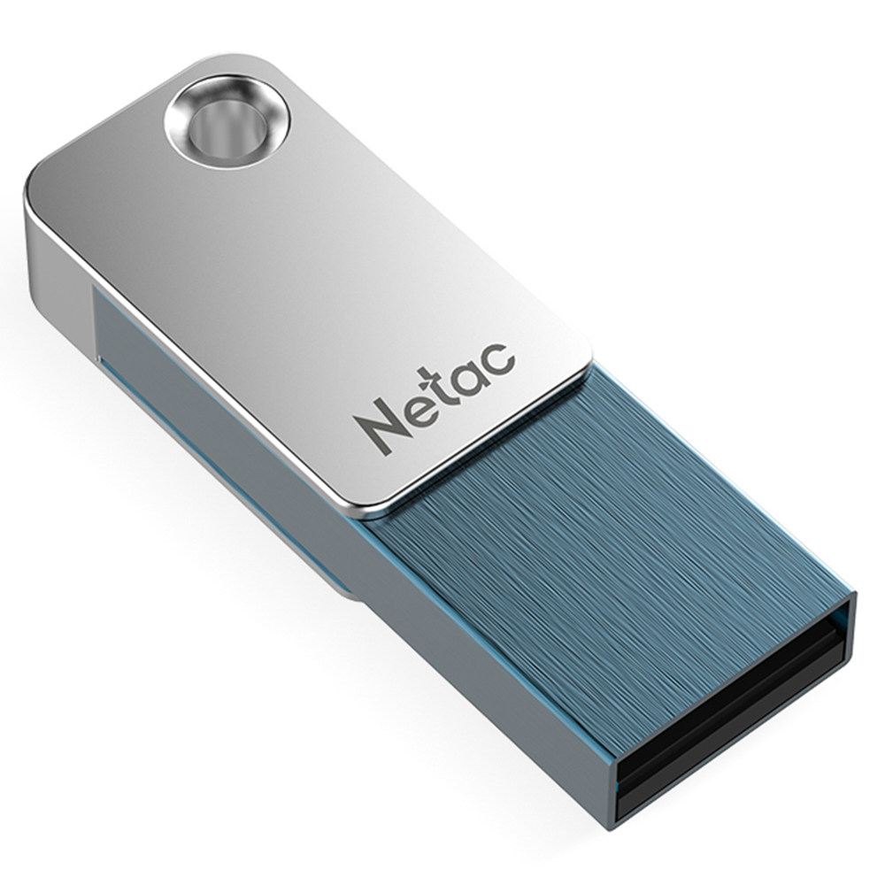 Netac U329 16GB USB แฟลชไดรฟ์โลหะผสมสังกะสี - เงิน + น้ำเงิน