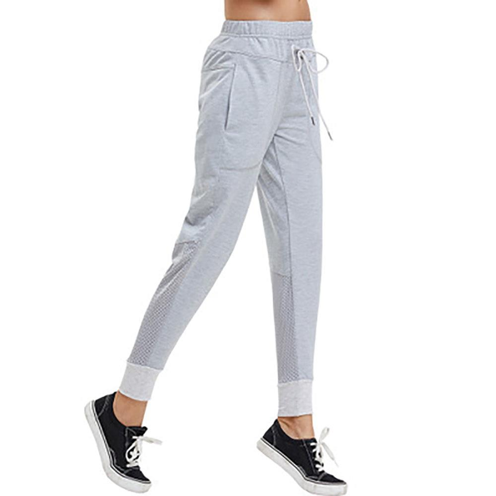CK2229 Women Casual Sports Pants High-waist Elastic Home Trousers Size S - Gray