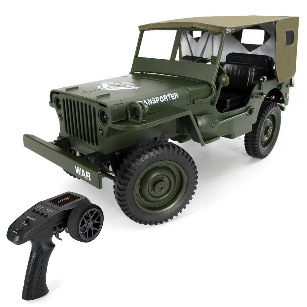 JJRC Q65 Transporter-6 2.4G 1: 10 4WD Convertibile Jeep Off-road RC Car Truck militare con Car Cloak RTR - Army Green