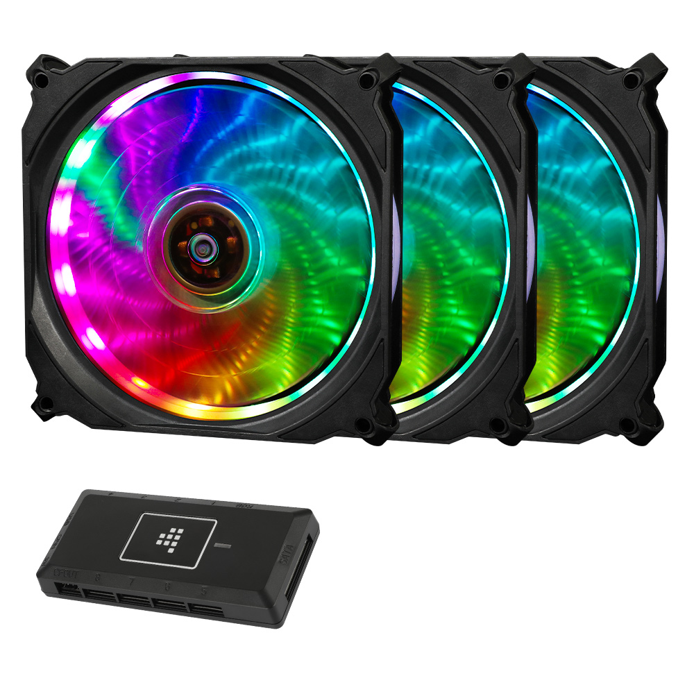 Tronsmart TF12 RGB 120mm PWM Cooling Fan with Controller 16 RGB LEDs Ultra-thin Blades Software Enabled 3 Pack
