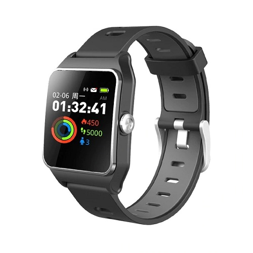 Makibes BR3 Smart Watch Support Strava 1.3 Inch IPS Color Touchscreen Built-in GPS Multi-sports Modes Heart Rate Monitor IP68 Waterproof Fitness Tracker - Black