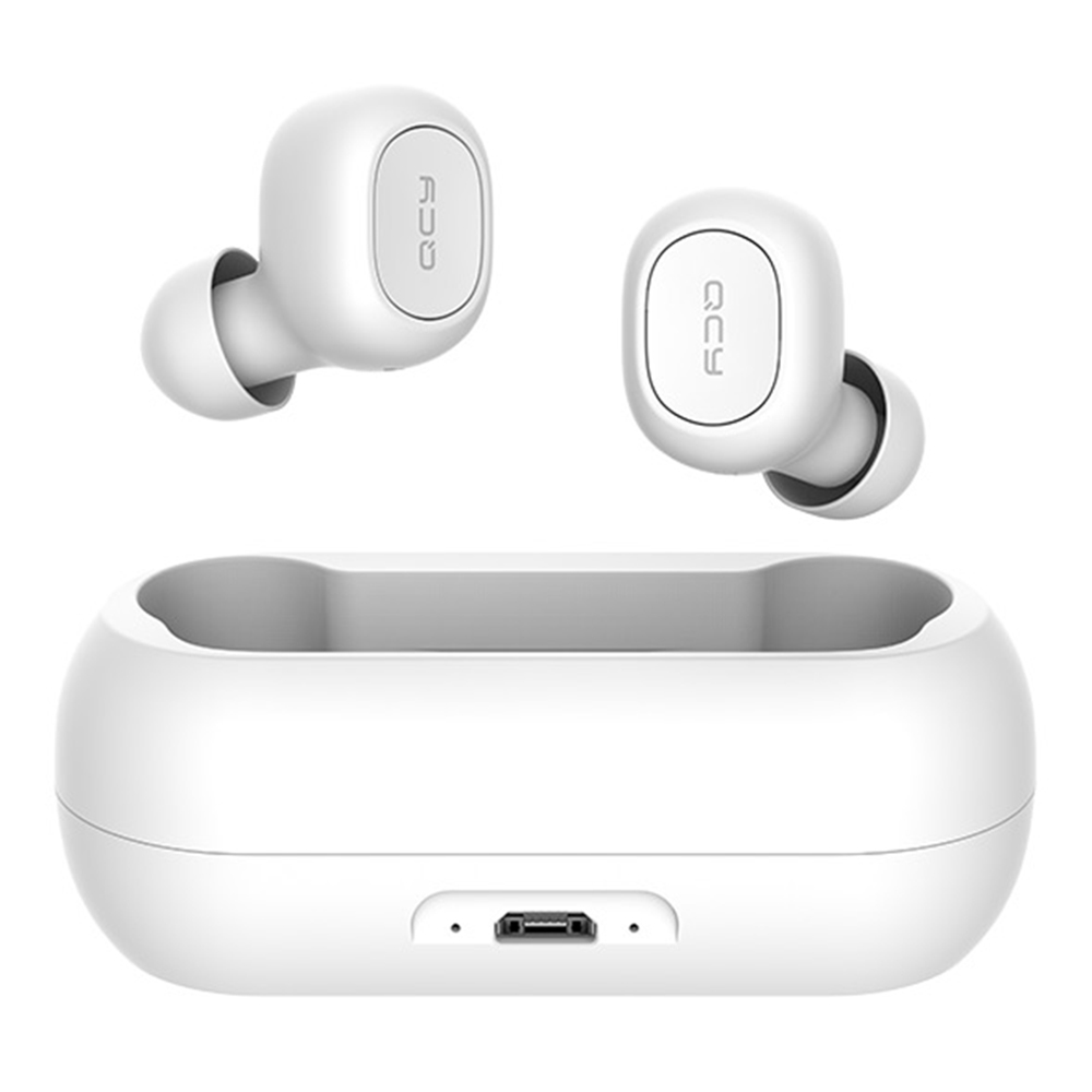 QCY T1C / T1 TWS Dual Bluetooth 5.0 Earphones with Mic Charging Box للحد من الضوضاء - أبيض