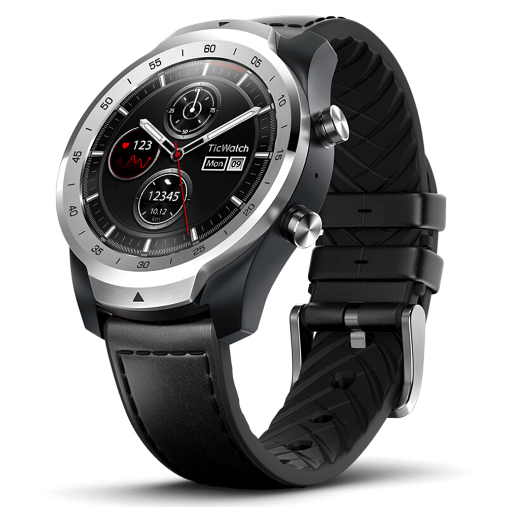 Ticwatch PRO Smartwatch Wear OS 1.4 Inch OLED/LED Double Screens Heart Rate Monitor IP68 Built-in GPS - Silver