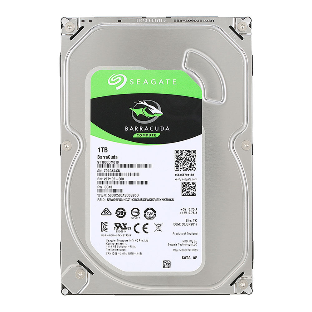 Seagate BarraCuda ST1000DM010 1TB Desktop HDD Internal Hard Drive 3.5 Inch 7200 RPM SATA 6Gb/s 64MB Cache Memory - Silver