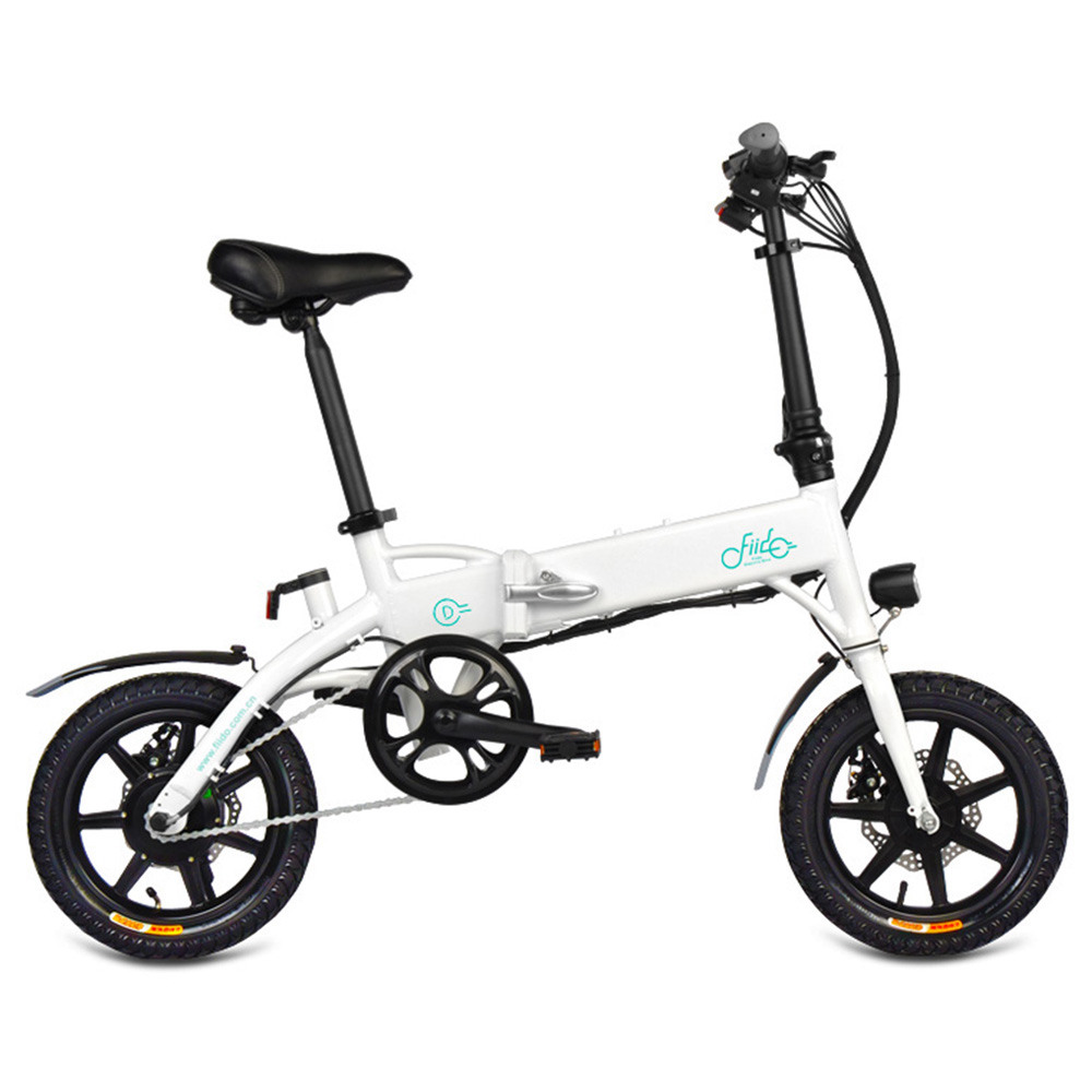 FIIDO D1 Folding Electric Moped Bike City Bike Commuter Bike Three Riding Modes 14 Inch Tires 250W Motor 25km/h 10.4Ah Lithium Battery 40-55KM Range - White