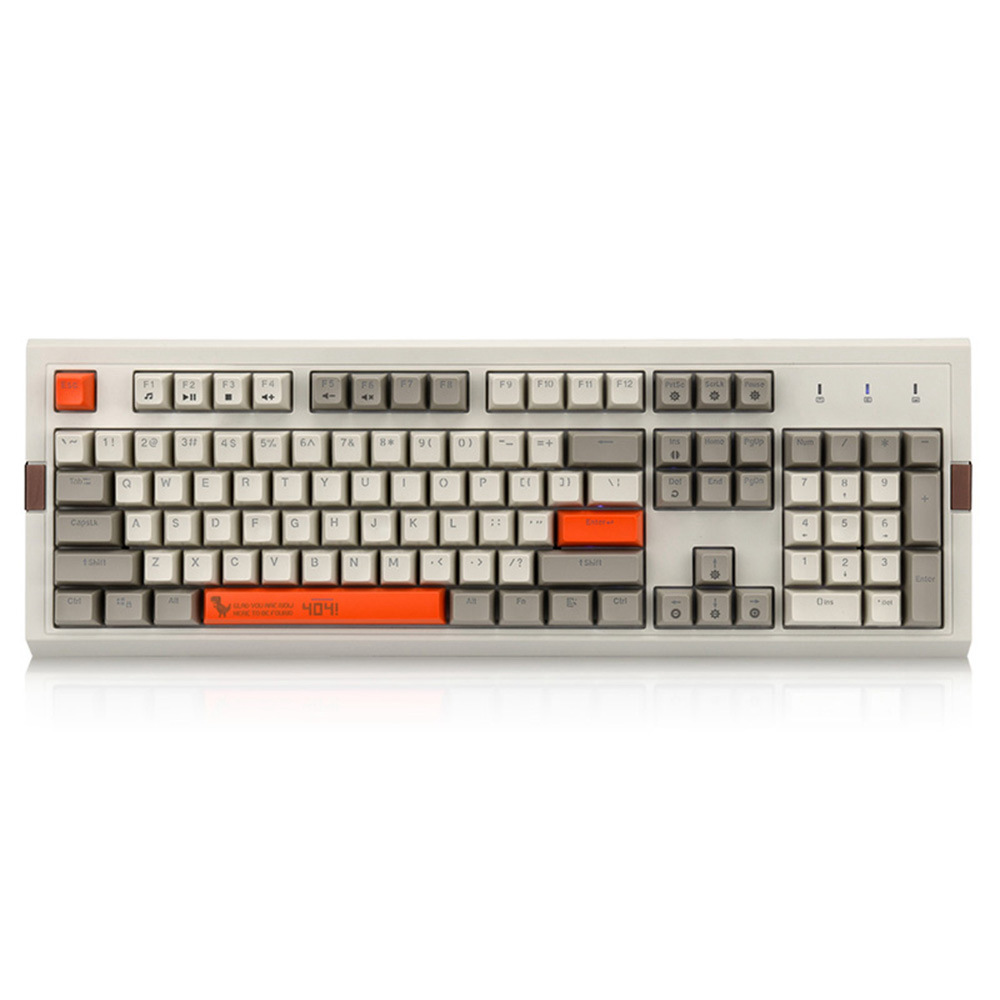 Ajazz AK510 Retro Game Wired Mechanical Keyboard 104Key PBT Ball Key Cap RGB Brown Switch - Gray + Orange фото