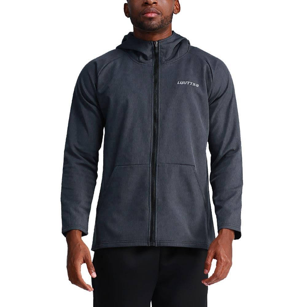 T65 férfi kapucnis alkalmi kabát Sport Fitness aktív dzsekik, XL méret sötét szürke