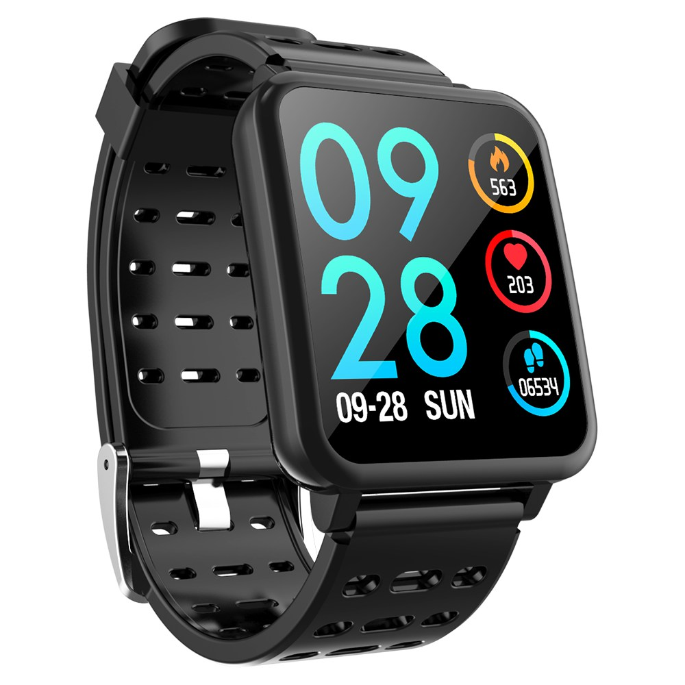 Makibes T2 Smart Watch 1.3 Inch IPS Screen Heart Rate Blood Pressure Monitor IP67 Multi Sports Modes - Black