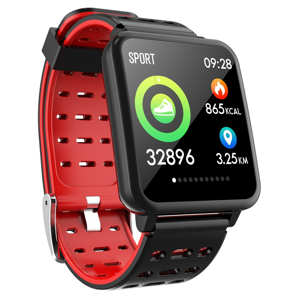 Makibes T2 Smart Watch 1.3 Inch IPS Screen Heart Rate Blood Pressure Monitor IP67 Multi Sports Modes - Red