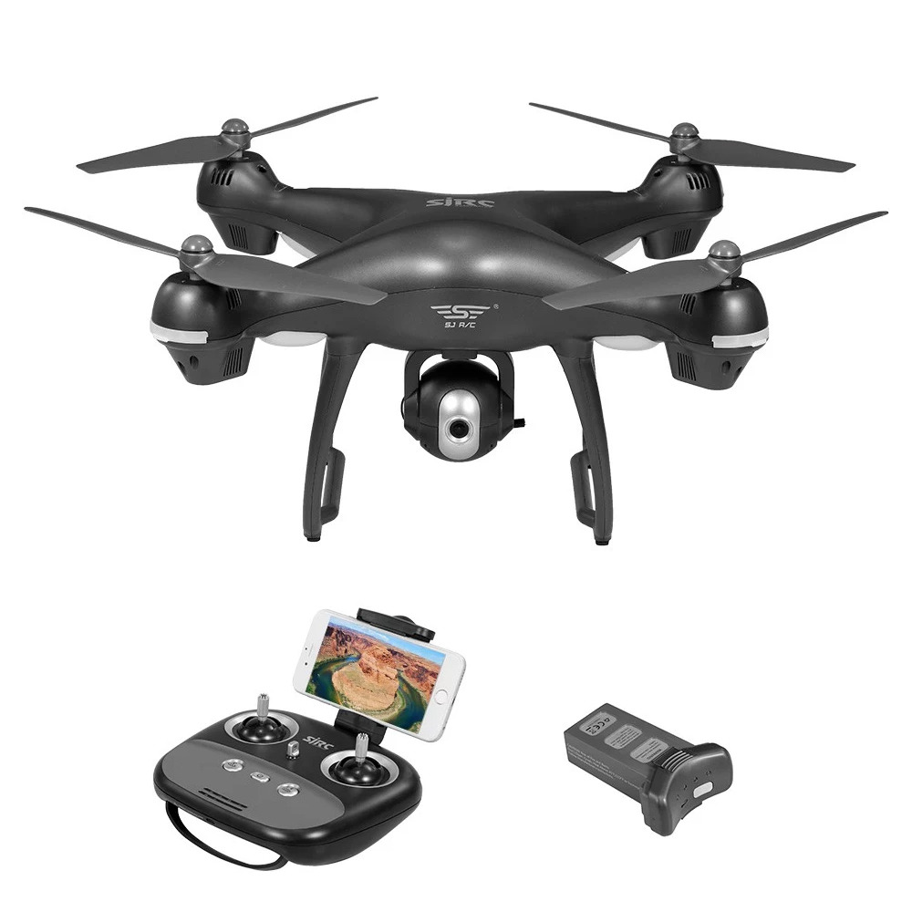 SJRC S70W 1080P 5G WiFi doppio GPS RC Drone Follow Me Mode RTF Grigio - Due batterie