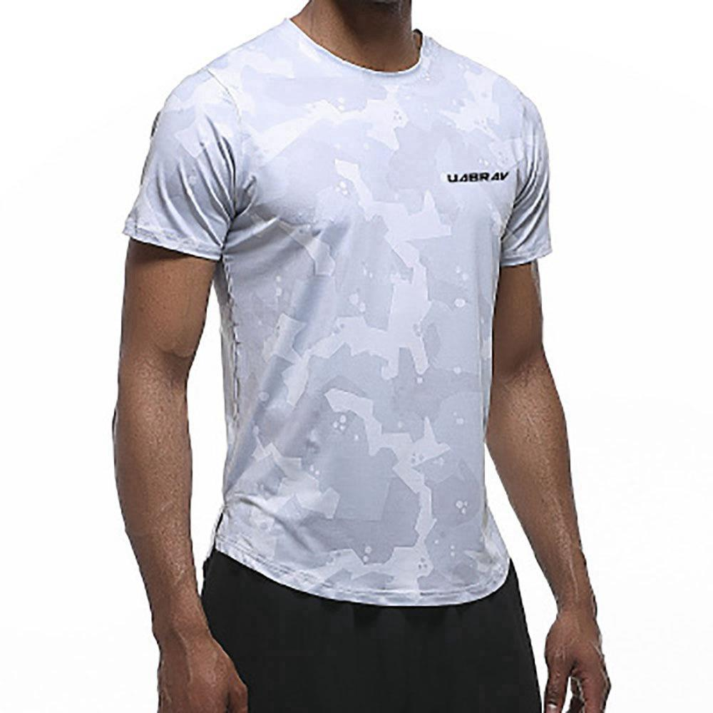 AK22 Men Fitness Sports Round Neck Tops Short Sleeve T-shirts Size XXL - Grey