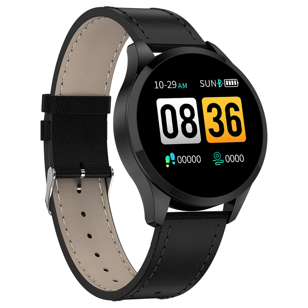 Makibes T5 Smart Watch 1.22 Inch TFT Screen IP67 Heart Rate Blood Pressure Sleep Monitor 230mAh Battery PU Strap - Black