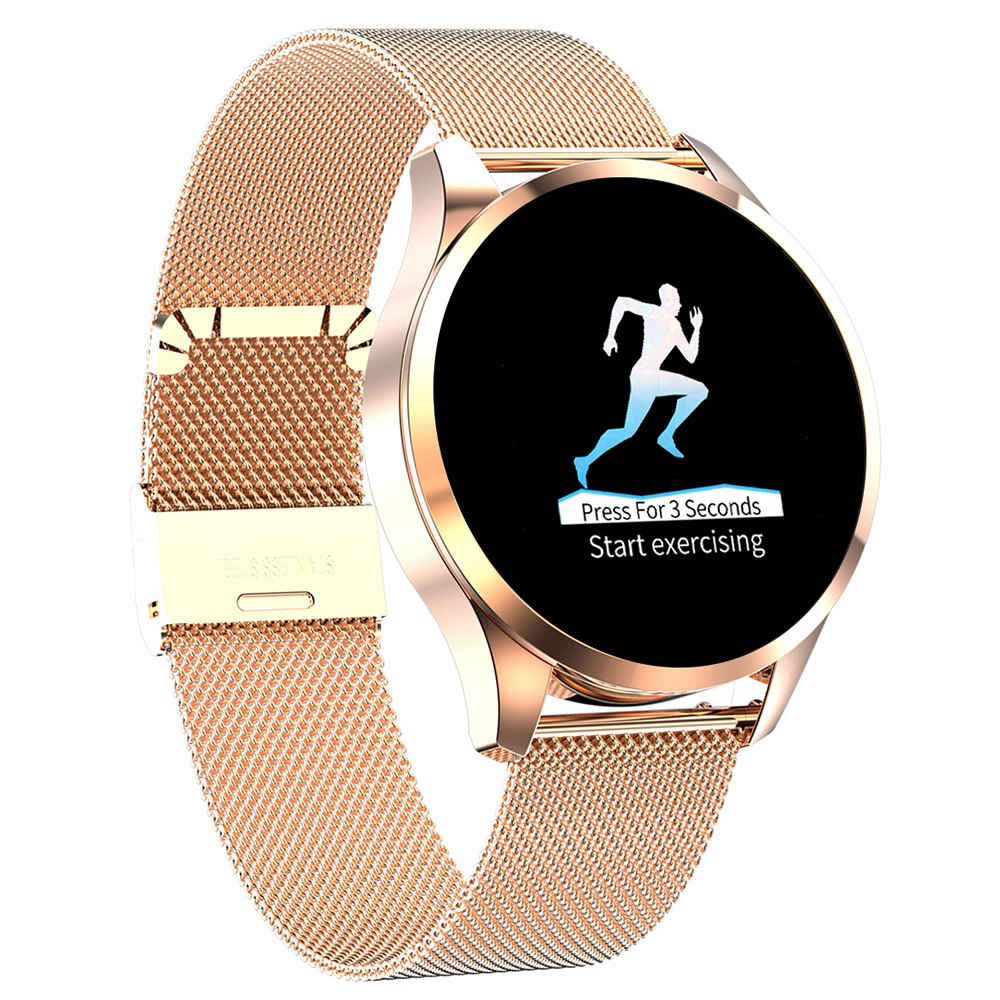 Makibes T5 Smart Watch 1.22 Inch TFT Screen IP67 Heart Rate Blood Pressure Sleep Monitor 230mAh Battery Steel Strap - Gold