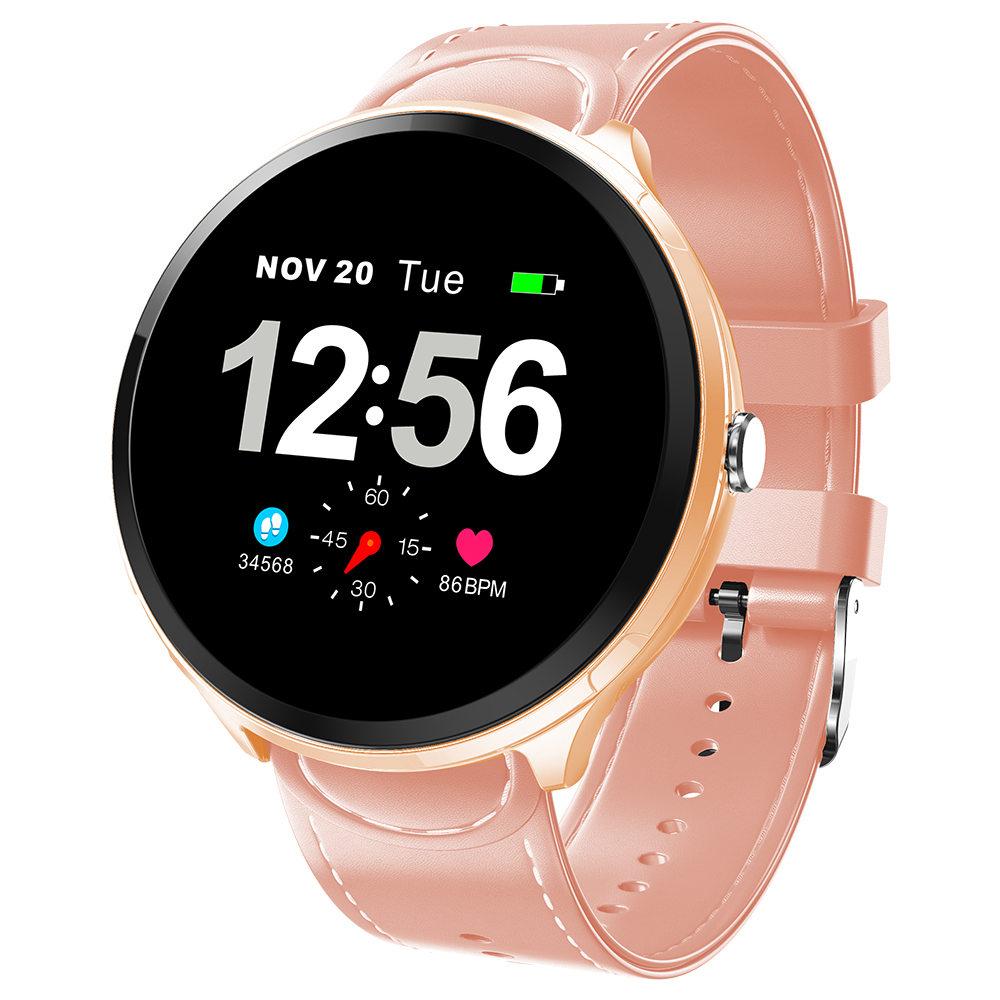 Makibes T4 Pro Умные часы 1.3 дюймовый TFT-экран IP67 Датчик сердечного ритма Артериальное давление Кислородный монитор сна PU-ремешок - розовый